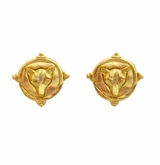 18k Gold Plated Intaglio Fox Pierced earrings - sold out