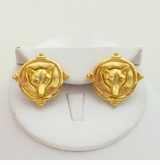 18k Gold Plated Intaglio Fox Pierced earrings