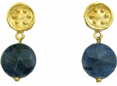 18K Gold Plated Lapis Dangle Pierced Earrings - SOLD OUT