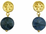 18K Gold Plated Lapis Dangle Pierced Earrings