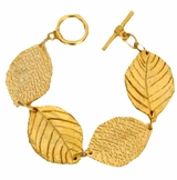 18K Gold Plated Leaf Toggle Bracelet