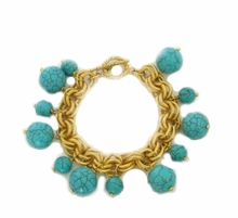 18K Gold Plated Link Turquoise Bead Bracelet