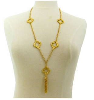 18K Gold Plated Long Scroll Necklace LAST ONE