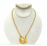 18K Gold Plated Lucky Horseshoe and Wishbone Necklace