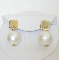 18k Gold Plated Post Cotton Pearl Earring - SOLD OUT