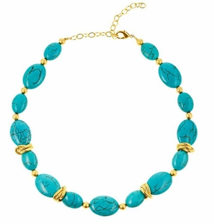 18K Gold Plated Turquoise and Gold Choker Necklace