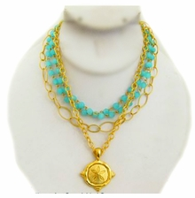 18K Gold Plated Turquoise Crystal 4 Strand Sand Dollar Necklace - SOLD OUT