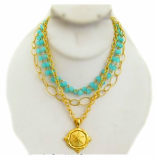 18K Gold Plated Turquoise Crystal 4 Strand Sand Dollar Necklace