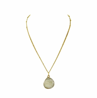 18K Gold Plated White Druzy Pendant Necklace OUT OF STOCK