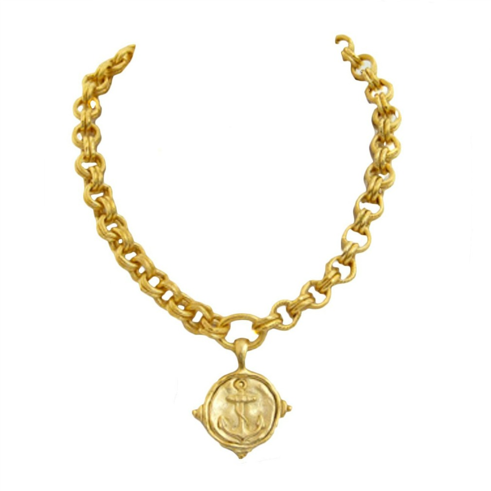 18k gold plated womens anchor pendant necklace