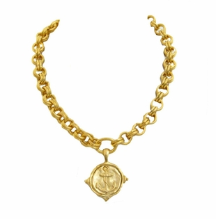 18K Gold Plated Women's Anchor Pendant Necklace