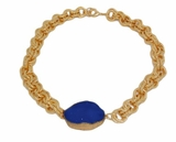 18K Gold Plated Women's Blue Lapis Druzy Short Pendant Necklace - SOLD OUT