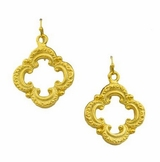 18K Gold Plated Women's Clover Scroll Earrings