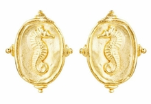 18K Gold Plated Women's Seahorse Intaglio Post Earrings