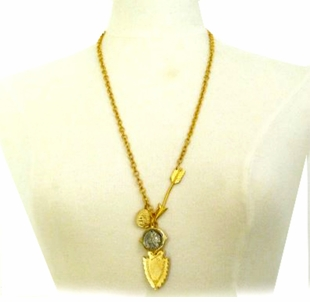 18k Gold Plated Womens Charm Necklace Buffalo Coin and Shield LAST ONE