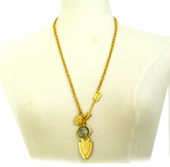 18k Gold Plated Womens Charm Necklace Buffalo Coin and Shield - SOLD OUT