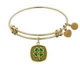 4 Leaf Clover Bracelet : Angelica Bangle Bracelet Antique Gold
