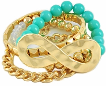4 Stackable Bracelets - Turquoise Acrylic, Opal Glass and Gold Tone Infinity - BEAUTIFUL!