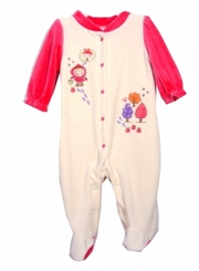 Absorba Storybook Girl Velour Footie - Final Sale