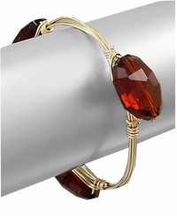 Amber Style Stone Gold Plated Wrap Bangle