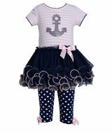 Anchor Tutu Dress Navy Pink CLEARANCE