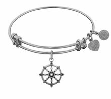 Angelica Bracelet :  Wheel of Dharma Antique Silver