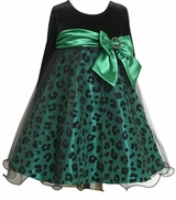 Animal Print Flock Taffeta Girl's Special Occasion Dress
