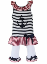 Ann Loren Patriotic Sailor Outfit Tunic and capri leggings