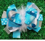 Anna Bow - 6 Inch Frozen Snowflake Feather Bow - out of stock