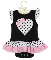 Ann Loren Baby-Girls Polka Dot Heart Tutu Skirted Onesie