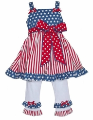 AnnLoren Big Girls' American Flag Patriotic Tunic and Legging Set - sold out