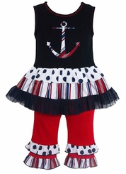 AnnLoren Girls' Nautical Anchor Tutu Dress and Capri Set