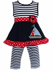 AnnLoren Girls' Stripe Nautical Sailboat Tunic Capri Set