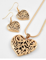 Antique Gold Heart Necklace and Earring Set
