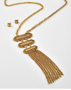 Antique Gold Long Tassle Necklace and Earring Set