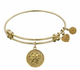 Antique Gold Paw Print Dog Lover's Bracelet Bangle Angelica