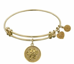 Antique Gold Paw Print Dog Lover's Bracelet Bangle Angelica - SOLD OUT