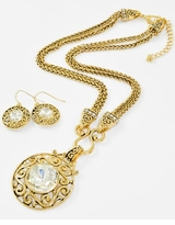 Antique Gold Pendant Necklace and Filigree Earring Set - sold out