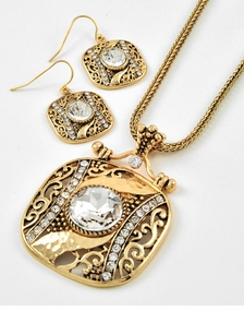 Antique Gold Square Pendant Necklace and Earring Set - one left