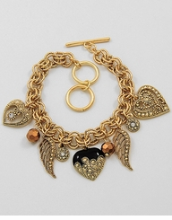 Antique Gold Tone Angel Charm Bracelet