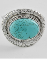 Antique Pebbled Silver And Oval Turquoise Stone Foldover Statement Bracelet