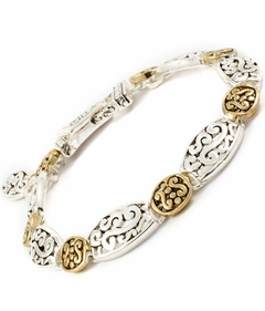 Antique Silver and Gold Scroll Bracelet  Magnetic Closure