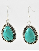 Antique Silver and Turquoise Tear Drop Earrings : Women's Fashion Jewelry