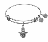 Antique Silver Hamsa Bracelet : Angelica Bangle