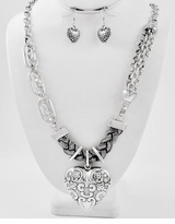 Antique Silver Long Heart Necklace and Earring Set