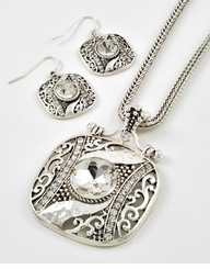 Antique Silver Square Pendant Necklace and Earring Set