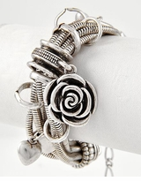 Antique Silver Tone Metal Flower Charm Bracelet