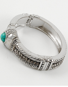 Antique Silver Tone Turquoise Acrylic Fold Over Closure Bracelet
