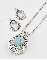 Antique Silver Tone Turquoise Stone Filigree Pendant Necklace Set