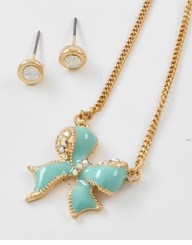 Aqua Bow Tie Pendant Necklace & Post Earring Set